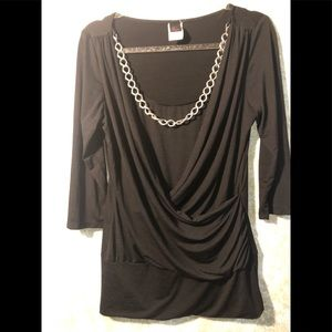 Black tunic with cami built  XL with chain detail